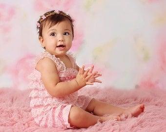 Pink Romper Baby Girl Romper Lace Petti Romper Newborn Romper Ruffle Romper Cake Smash Outfit Baby Romper Baby Outfit Todler Birthday Outfit