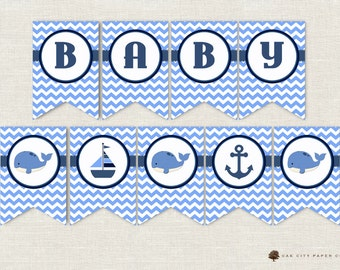 Whale Baby Shower Decorations, Whale Baby Shower Banner, Whale Banner, Baby Shower Banner, Nautical Baby Shower Banner, Beach, Printable