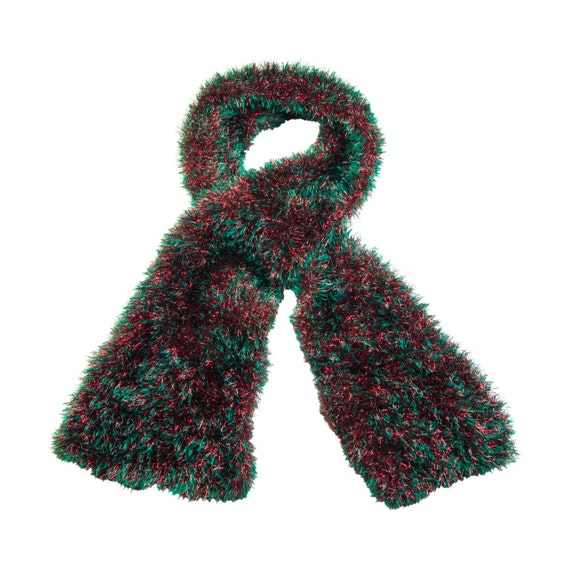 Adults Christmas fancy dress red and green fluffy eyelash and tinsel scarf