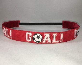 Non Slip Headband; EmBands - Red GOAL! Non-Slip Headband; Soccer Headband; Sports Headband; Girl Headband; No Slip Headband; Soccer Ball