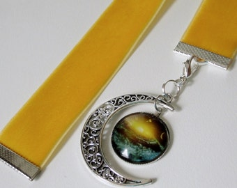 Velvet Ribbon Bookmark w/Moon and space Cabochon