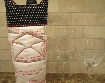 Letters to Santa, Quilted Wine Tote Bag