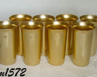 Aluminumware Set of 8 Vintage Gold Color Aluminum Tumblers (Inventory #M1572)