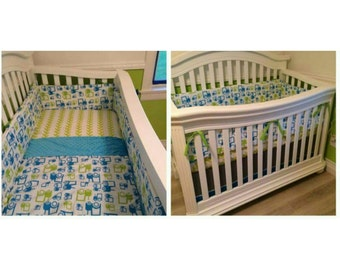 Baby Boy Tractor Crib Bedding Organic Aqua Lime Green Gray