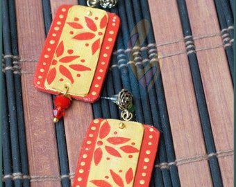 Recyled Handmade contemporary Red and Gold earring