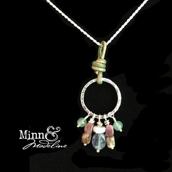 Chakra Balancing Charm Necklace, Jade, Kyanite, Tourmaline, Aquamarine Charm Pendant, Healing Jewelry