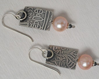 Sterling Silver, Freshwater Pearl and Sterling Bead Earrings. Free U.S. Shipping
