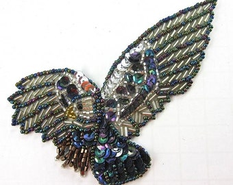 "Eagle Applique with Moonlight and Silver Sequins and Beads, 4.5"" x 2""  -14658-0216"