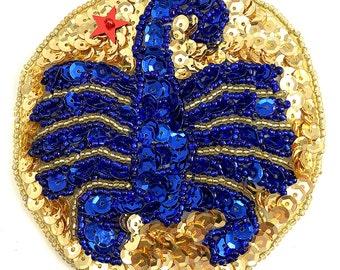 """Choice: Zodiac Symbol Sequin Beaded Applique, Scorpio, Aries, Taurus or Virgo, 3.5""""  -4B-0005"""