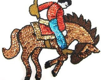 "Bucking Bronco Horse and Cowboy Applique, Sequin Beaded, 9"" x 7"" -JJ617L-B051"