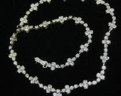 Lovely Czech Rhinestone Vintage Necklace Silver Plated