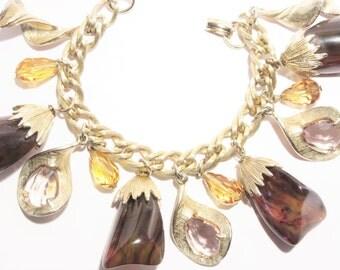 Vintage Bakelite Charm Bracelet Rhinestone and Crystal Dangles Goldtone
