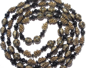 Vintage Single Long Strand Black Bead Necklace 54 Inch