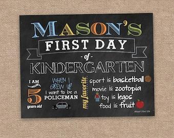 First Day of School Sign, Boy Milestone Sign, Any Grade, Preschool, Kindergarten, First Grade, DIY Printable