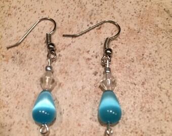 Handmade earrings, blue cats eye bead earrings