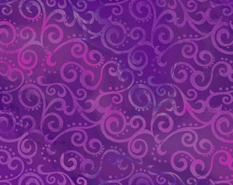 Ombre Scroll- Grape, Fabric by the Yard