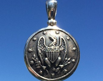 Sterling Silver Confederate Staff Officer Civil War Button (Albert's reference # CS1) pendant