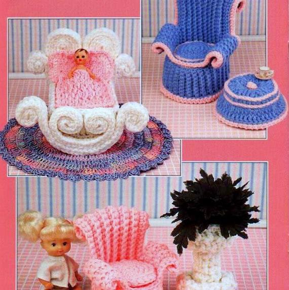 Vintage crochet pattern pdf fashion doll home decor barbie - Crochet mural vintage ...