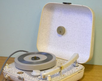 Vintage portable Turntable Record Player His Master's Voice HMV whtie