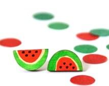 Watermelon Earrings · Painted Wood Watermelon · Watermelon Slice