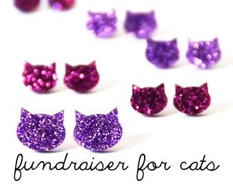 Glitter Cat Earrings · Pink Cat Earrings · Lilac Cat Earrings · 2 sizes · FUNDRAISER FOR CATS