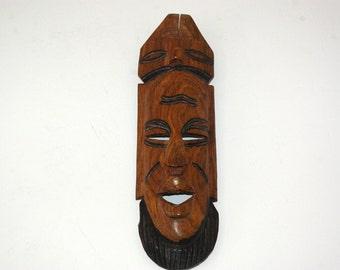 Wooden African Mask, African Wall Sculpture, African Wall Decor, Ethnic Mask, African Primitive Decor, African Folk Art, African Warrior