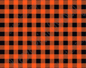 Orange and black buffalo plaid craft  vinyl sheet - HTV or Adhesive Vinyl -  lumberjack plaid HTV1806
