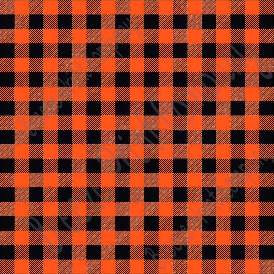 Orange And Black Buffalo Plaid Heat Transfer Or Adhesive