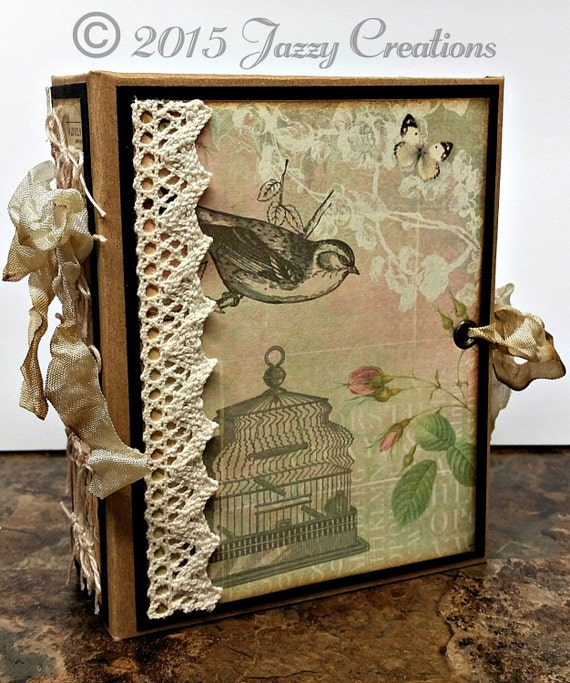 MADE TO ORDER - Handmade Junk Journal with Chipboard Covers, Dyed Seam Binding Closure, 3 Sewn in Signatures-Vintage Style