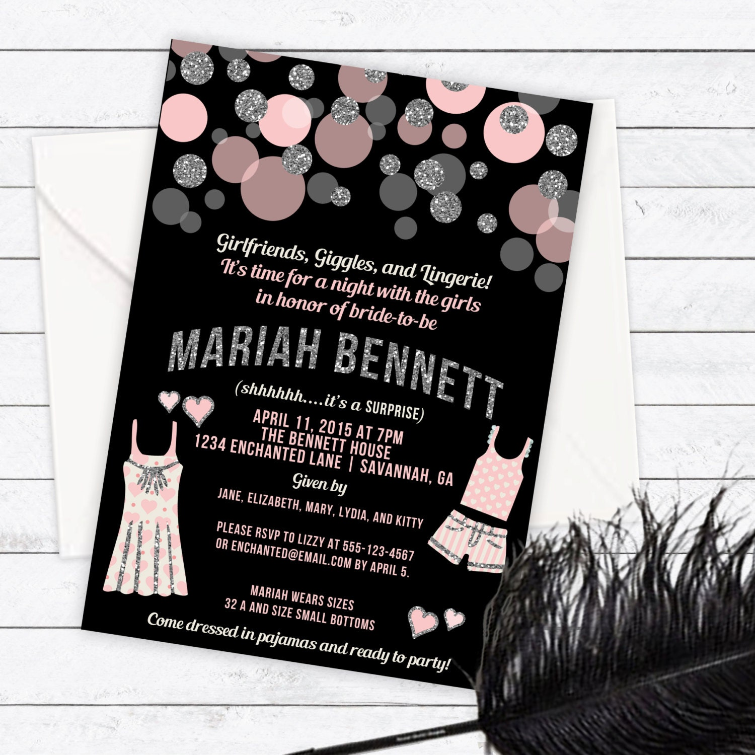 Pajama Party Lingerie Party Invitation PJ Party Linger – Lingerie Party Invite