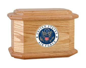 Oak Diplomat Military Wood Cremation Urn