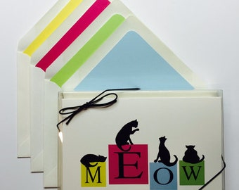 MEOW Box of 8 Note Cards