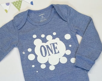 Blue First Birthday ONE Shirt with Ink Splatter, Boys' First Birthday Shirt, Birthday ONE Shirt, Baby Boy Outfit, Photo Prop