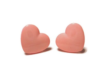 Pink Heart  Post Earrings