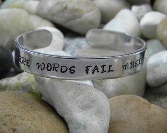 Where Words Fail Music Speaks hand stamped bracelet - Aluminum