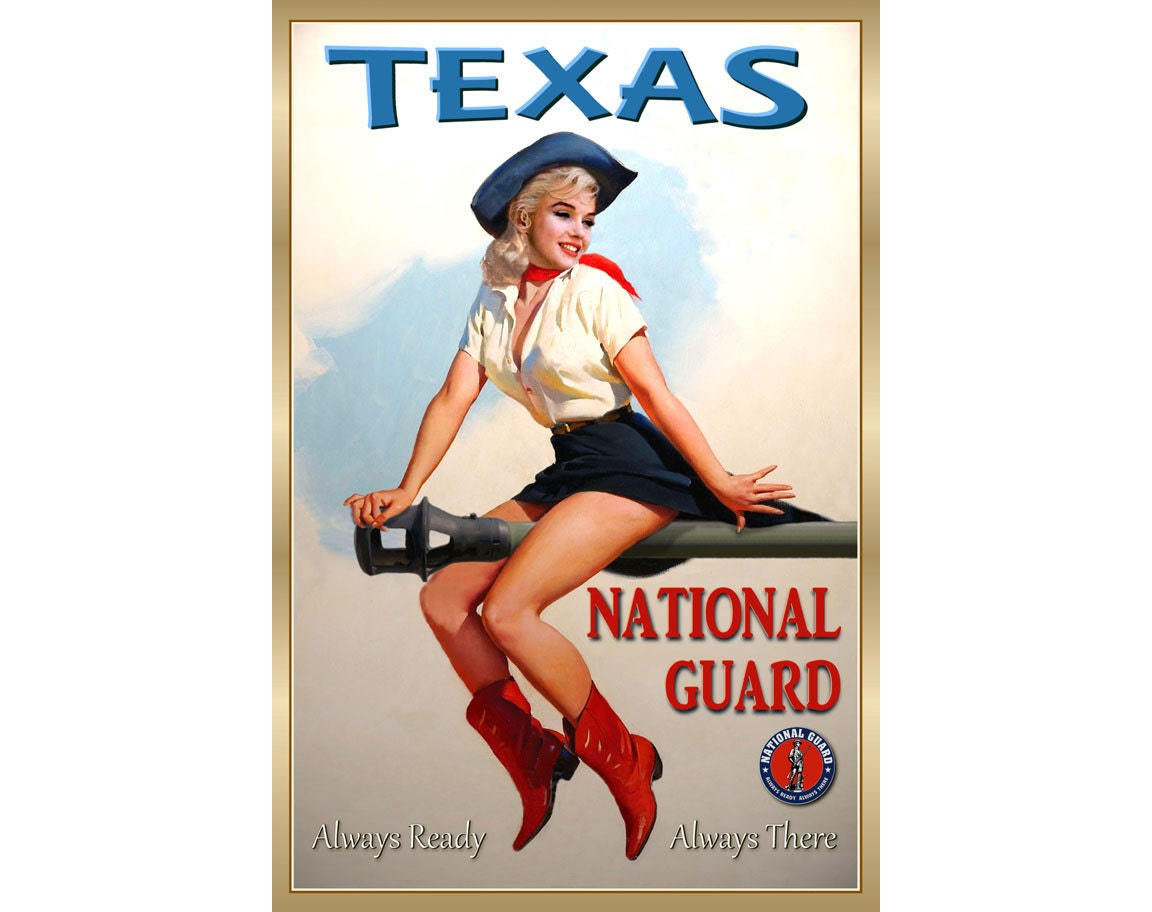 TEXAS National Guard Marilyn Monroe Pin Up Poster 4 sizes up