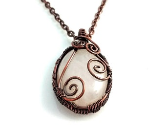 Rose Quartz Pendant Necklace, Bohemian Necklace, Natural Stone, Wire Wrapped Copper Necklace, Artisan Jewelry, Choose Chain Length, Custom