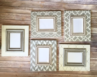 Distressed Frame Set - Five Frames with Herringbone, Moroccan and Trellis Patterns in Gray and Vintage White