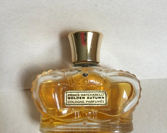 Vintage Prince Matchabelli Golden Autumn Cologne Parfumee 1 ounce Crown bottle 75% full vintage perfume collectible bottle
