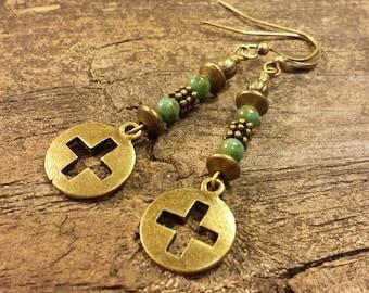 Metal Earrings, Cross Earrings, Bronze Earrings, Cutout Cross Earrings, Dangle Earrings, Drop Earrings, Boho Earrings, Turquoise Earrings