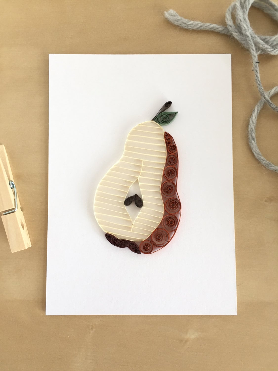 Quilling paper bosc pear home decor brown pear wall decor Pear home decor