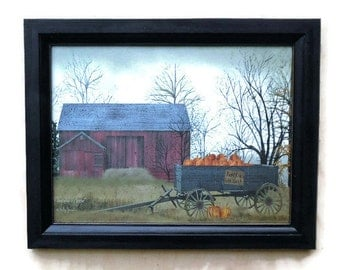 Pumpkin Wagon, Billy Jacobs, Barn, Pumpkins, Art Print, Country Decor, Wall Hanging, Handmade, 21X15, Custom Wood Frame, Made in the USA