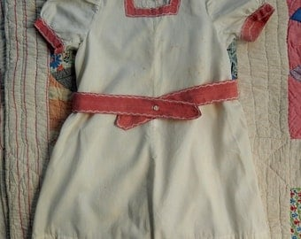 Vintage 20's to 40's Child's Play Romper With Feather Stitching ~ Antique Summer Children's Clothing