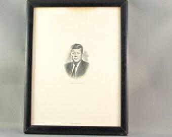 John F. Kennedy Steel-plate Etched Portrait - Rare - Framed