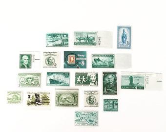 Unused vintage postage stamp set - Green Hues - 18 stamps