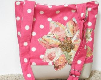 Pink Purse Crossbody Bag, Pink Handbag Tote, Polka Dot Fabric Bag, Crossbody Shoulder Bag, Summer Sling Bag, Cute Crossbody Bag, Zipper Bag