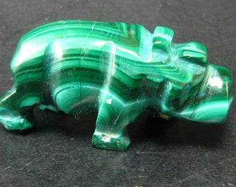 Malachite Hippo Hippopotamus Carving From Congo - 1.3""