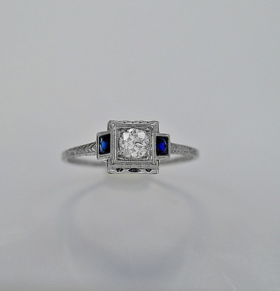 Art Deco 25ct Diamond Sapphire & 20K White Gold Engagement