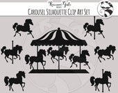 Carousel Silhouette Clip Art Set - Personal & Commercial Use