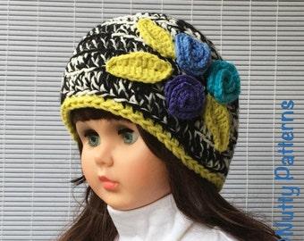 Crochet Pattern * April Hat * Instant Download Pattern #439 * girls * baby, toddler, children, teen, adult sizes * easy * Pdf * flowers